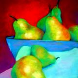 Pears in silver bowl